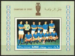 {UA014} UAE Ajman Football Soccer Italy Team S/S MNH** - Ajman