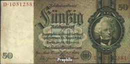 Deutsches Reich Rosenbg: 175b, Udr.-Bst.: X, Serien: A-E, KN 8-stellig Gebraucht (III) 1933 50 Reichsmark - 50 Reichsmark