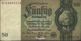 Deutsches Reich Rosenbg: 175b, Udr.-Bst.: F, Serien: Q-U, KN 8-stellig Gebraucht (III) 1933 50 Reichsmark - 50 Reichsmark