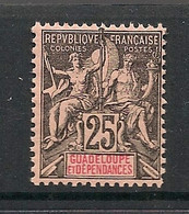 Guadeloupe - 1892 - N°Yv. 34 - Type Groupe 25c Noir Sur Rose - Neuf Luxe ** / MNH / Postfrisch - Ungebraucht
