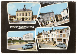 52 NOGENT EN BASSIGNY - Multivues Hotel De Ville Café Le Bon Coin HOTEL DU CHEVAL BLANC - 2CV - Cpsm Haute Marne - Nogent-en-Bassigny