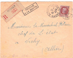 1,50F Pétain Sur Lettre De Pesmes 20 12 1943 Trouvée à La Boîte Adressée Au Maréchal Recommandée D'office - WW II