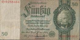 German Empire Rosenbg: 175a, Udr.-Bst.: T, Series: A-P, KN 7-stellig Used (III) 1933 50 Reichsmark - 50 Reichsmark