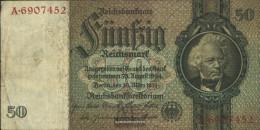 German Empire Rosenbg: 175a, Udr.-Bst.: M, Series: A-P, KN 7-stellig Used (III) 1933 50 Reichsmark - 50 Reichsmark