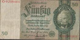 German Empire Rosenbg: 175a, Udr.-Bst.: B, Series: A-P, KN 7-stellig Used (III) 1933 50 Reichsmark - 50 Reichsmark