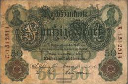 German Empire Rosenbg: 25b, 7stellige Kontrollnummer Used (III) 1906 50 Mark - 50 Mark