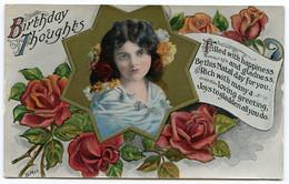 BIRTHDAY THOUGHTS - PRETTY GIRL WITH ROSES / ADDRESS - ASTWOOD BANK, RIDGEWAY, REDDITCH - Verjaardag