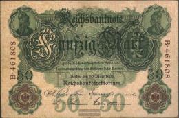 German Empire Rosenbg: 25a, 6stellige Kontrollnummer Used (III) 1906 50 Mark - 50 Mark