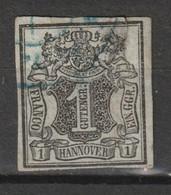 Hannover 1851, Schwarz Auf Hellgrauoliv MiNr. 2a. Sehe Beschreibung - Hannover