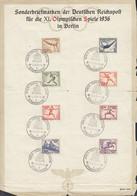 DR 609-616, Auf Sonderblatt: Olympische Spiele 1936 Berlin, Mit Sonderstempel: Berlin Grünau Regattabahn 13.8.1936 - Cartas