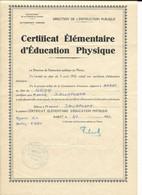 DALLAPORTA......CERTIFICAT D EDUCATION PHYSIQUE....RABAT1949..... - Diplomas Y Calificaciones Escolares