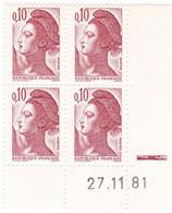 YT 2179- Liberté 10 C Rouge Brun CD  27.11.81 Avec RE ** - 1980-1989