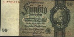 German Empire Rosenbg: 175a, Udr.-Bst.: Z, Series: Q-u, KN 7-stellig Used (III) 1933 50 Reichsmark - 50 Reichsmark