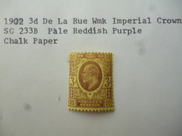 GREAT BRITAIN SG 233B 1902 3d De La Rue Wmk IMP CROWN CHALK PAPER - Ohne Zuordnung