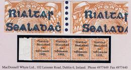 """Ireland 1922 Thom Rialtas Blue-black 2d Orange Die 2 Marginal Strip Of 4 Each With Var """"R Over Se"""" Mint Unmounted - Unused Stamps"""