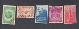 Cuba, Scott #368-372 Imperf, Used, Spirit Of Democracy, Issued 1942 - Used Stamps