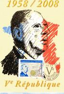 """"""" DE GAULLE / 50 ANS DE LA 5ème REPUBLIQUE """" Sur Carte Maximum De 2008 N°YT 4282 4285. Parfait état CM - De Gaulle (Generale)"""