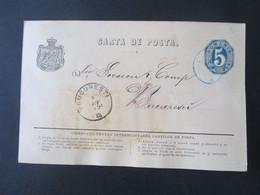 Rumänien 7. Juni 1875 Ganzsache P 7 Mit Blauem Stempel!! Und Ank. Stempel Bucuresti Geschrieben In Craiova - 1858-1880 Moldavia & Principality