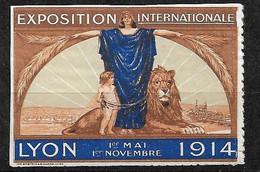 """France  Vignette """" Exposition Internationale De Lyon Du 1er Mai Au  1er Novembre 1914    """"  Neuf   Type 2    Soldé ! ! ! - Tourisme (Vignettes)"""