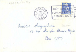 CASTRES * TARN * OMec FLIER 7.VIII 1952 AOÛT-SEPTEMBRE / FOIRE DE CATSRES / LE MUSÉE GOYA - Maschinenstempel (Werbestempel)