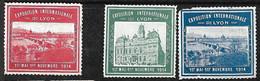 """France  3  Vignettes  """"Exposition Internationale De Lyon  """"  1er Mai Au 1er Novembre 1914  Neuf B/AB    Soldé ! ! ! - Tourisme (Vignettes)"""