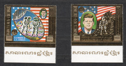 CC707 !!! GOLD 1973 KHMERE CAMBODGE SPACE KENNEDY APOLLO 11 APOLLO 17 MICHEL 240 EURO 2ST MNH - Other