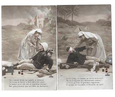 MILITARIA - LOT 2 CPA - MILITAIRE BLESSE AVEC INFIRMIERE - Guerre 1914-18