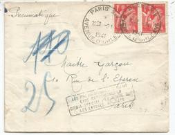 IRIS 1FR ROUGE PAIRE PNEUMATIQUE PARIS XIV 9.1.1941 + GRIFFE LES PENUMATIQUE ETRE RECOMMANDES - 1939-44 Iris