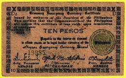 Billet De Banque Usagé Ayant Circulé - 10 Pesos Ten Pesos N° 19985 - Philippines 1944 - Filipinas