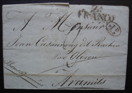 1834 Marque D'entrée D'Espagne Sur Lettre Pour Aramits Par Oléron - Marques D'entrées