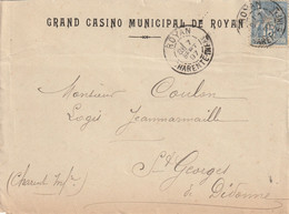 "ROYAN : T. à D. / Env. Du ""Grand Casino Municipal ..."" + Illustration Au Verso (TTB) - Matasellos Manuales"