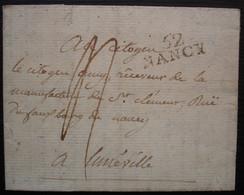 Nancy 24 Floréal L'an 8 (14 Mai 1800) Marque 25 X 10 Sur Lettre Pour Lunéville - 1701-1800: Precursores XVIII