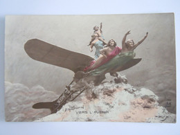 Domenico Mastroianni Vers L'avenir Femmes Sur Avion Circulée  Edit A.N. Paris 159 - Mastroianni