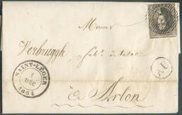 N°6 - Médaillon 10 Centimes Brun, Voisin En Haut, Obl. D.48 Sur Lettre DeSAINT-LEGERle 1 Déc. 1854 + BoîteAUdeAHERE - 1851-1857 Medallones (6/8)