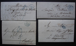 Paris Lot De 4 Lettres Avec Petit Cachet Bleu Entre 1828 Et 1835 (voir Détails) - 1801-1848: Précurseurs XIX