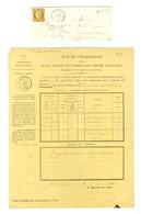 PC 196 / N° 1 (def) Càd T 15 AUTUN (70) 13 JANV. 54, Taxe 25 DT Pour Timbre Ayant Déjà Servi + Dossier (1 Feuille). - TB - 1849-1850 Ceres