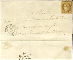 PC 803 / N° 1 Bistre Brun Càd T 15 CHATELLERAULT (80) Sur Lettre Locale. Au Verso, Cursive En Arrivée 80 / Vouneuil / S- - 1849-1850 Ceres