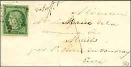 Etoile / N° 2 Vert Foncé, Belles Marges, Taxe 1 Manuscrite Sur Lettre Insuffisamment Affranchie Pour St Pierre Du Vouvra - 1849-1850 Ceres