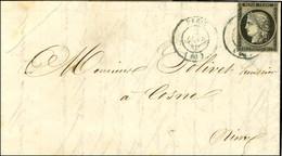 Càd T 15 Bleu PARIS (60) 2 JANV. 49 / N° 3 (filet Angle Sup Gauche à Peine Effleuré) Sur Lettre Pour Cosne. (Ex Collecti - 1849-1850 Ceres