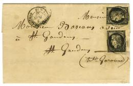 Càd T 15 BAGNERES-DE-LUCHON 30 3 JANV. 49 / N° 3 (2 Ex Def) Sur Lettre 2 Ports Pour Saint Gaudens. - TB. - R. - 1849-1850 Ceres