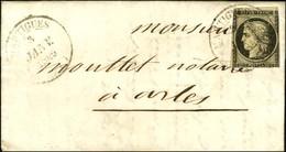 Càd T 14 MARTIGUES (12) 3 JANV. 1849 / N° 3 (def) Sur Lettre Pour Arles. - TB. - R. - 1849-1850 Ceres