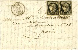 Càd T 15 AGEN (45) 5 JANV. 49 / N° 3 Paire Sur Lettre 2 Ports Pour Paris. - TB / SUP. - RR. - 1849-1850 Ceres