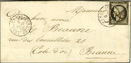 Plume + Càd T 15 (CS) PARIS (CS) 60 6 JANV. 49 / N° 3 (def) Sur Lettre Pour Beaune. - TB / SUP. - R. - 1849-1850 Ceres
