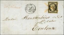 Plume / N° 3 Càd T 15 TONNEINS (45) 7 JANV. 49 Sur Lettre Pour Toulouse. Exceptionnelle Combinaison Pour Le 1er Dimanche - 1849-1850 Ceres