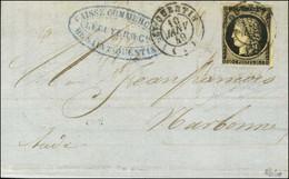 Càd T 15 ST QUENTIN (2) 10 JANV. 49 / N° 3 (leg Def) Sur Lettre Pour Narbonne. - TB / SUP. - R. - 1849-1850 Ceres
