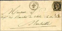 Plume + Càd T 15 ARLES-S-RHONE (12) 10 JANV. 49 / N° 3 Sur Lettre Pour Marseille. - TB / SUP. - R. - 1849-1850 Ceres