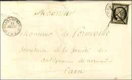 Plume + Càd T 15 ST HILAIRE-DU-HARCOUET (48) 13 JANV. 49 / N° 3 Sur Lettre Pour Caen. - TB / SUP. - R. - 1849-1850 Ceres