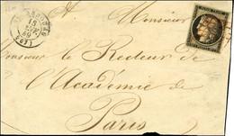 Grille Rouge / N° 3 Càd T 15 STRASBOURG (67) 18 JANV. 49 Sur Devant De Lettre Pour Paris. - TB. - R. - 1849-1850 Ceres