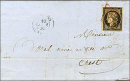 Grille Rouge / N° 3 Càd T 15 QUIMPER (28) 18 JANV. 49 Sur Lettre Pour Crest. - TB / SUP. - RR. - 1849-1850 Ceres