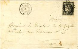 Grille / N° 3 Càd De Levée / E Sur Lettre De Jouy Le Moutier Adressée à Paris. 1849. Exceptionnelle Association. - TB /  - 1849-1850 Ceres